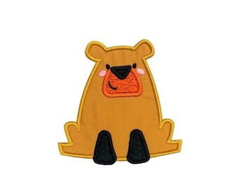 LIQUIDATION SALE Golden brown boxy bear woodland animal machine embroidered heat press iron on patch for kids clothing, quick shipping appli
