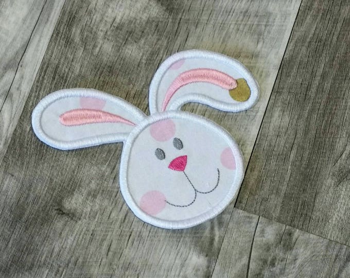 Bunny face with gold and pink or teal dots- iron t-shirt applique- ready to ship