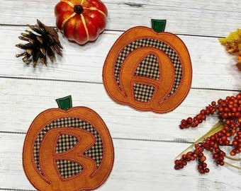 LIQUIDATION SALE Carve pumpkin alphabet A-Z iron on patch- quick shipping- 4.5 inch fall theme motif ready to ship embroidered applique