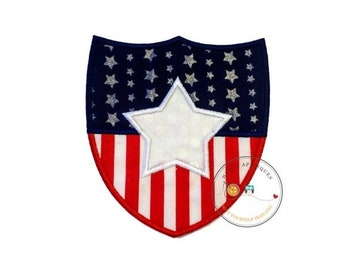 LIQUIDATION SALE Stars and stripes shield iron on applique-large red white and blue holiday machine embroidered fabric patch-DIY boutique fa