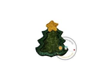 LIQUIDATION SALE tiny Christmas tree, mini tree, small, holiday, iron on applique, socks, fabric patch, heat press, ready to ship, embellish