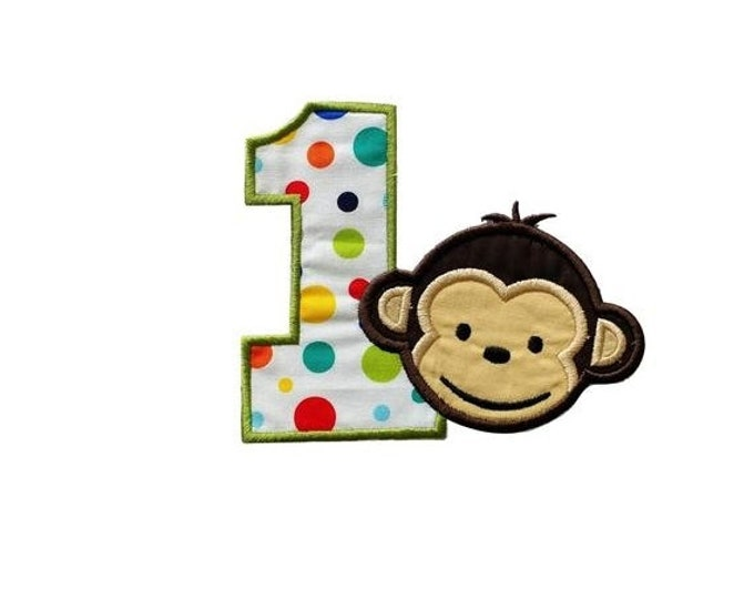 """LIQUIDATION SALE Mod monkey number one iron on applique- 4.5"""" H x 5.25 W- *** Ships in 72 Hours ***"""