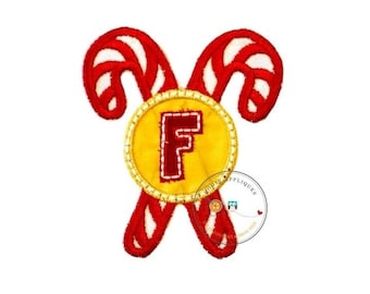 ON SALE Christmas candy cane initial letter F- iron embroidered fabric applique patch embellishment- ready to ship