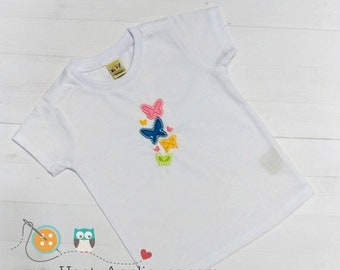 On Sale NOW Bright multi-color butterfly embroidered t shirt for girls- Spring and summer top for toddlers-