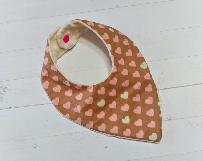 Bandana baby bib with cream and pink hearts for girls, Cotton and Mink baby bibs