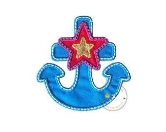 ON SALE Blue, pink and gold nautical anchor iron on applique, nautical summer no sew patch ready to ship