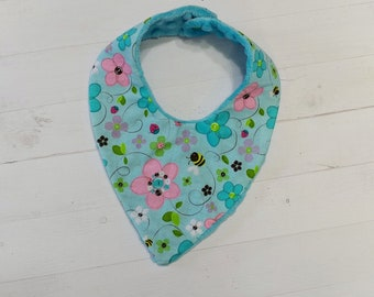 Spring time Bandana baby bib with aqua, pink, green and purple flowers for girls, Cotton and Mink baby bibs