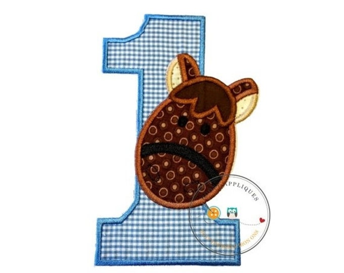 LIQUIDATION SALE Brown Horse, barn yard animal, birthday number one, farm animal, blue, white, fabric,applique, iron on patch, personalizabl