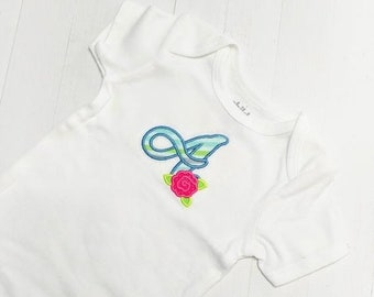 LIQUIDATION SALE Spring cursive monogram letters with rose embroidered top for infants and toddlers