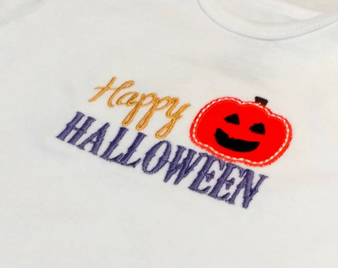Happy Halloween with pumpkin embroidered t shirt for girls- Halloween top boys and girls- tops for toddlers
