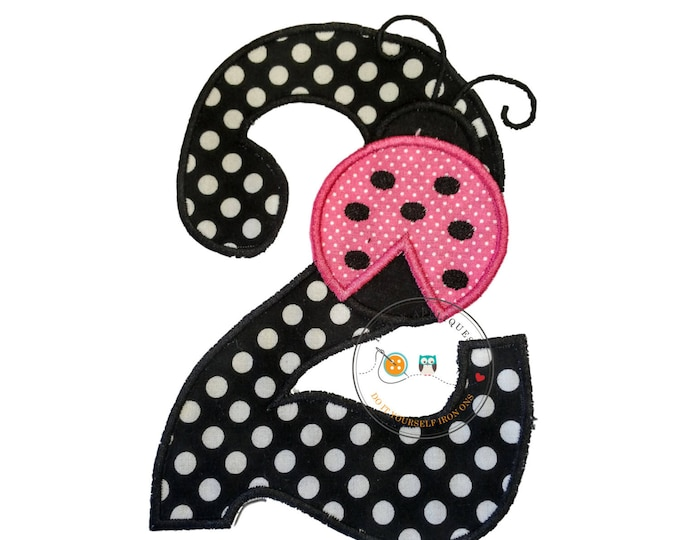 pink lady bug birthday number 2 iron on applique- black and white poka dots and red lady bug machine embroidered fabric no sew patch-DIY
