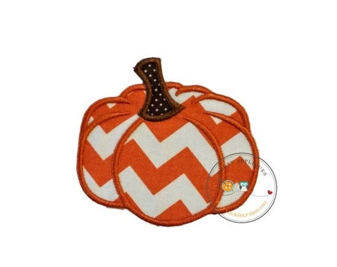 LIQUIDATION SALE Small chevron pumpkin  iron embroidered fabric applique patch embellishment- ready to ship
