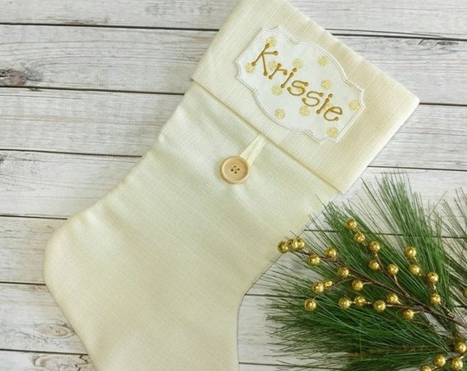 """LIQUIDATION SALE Personalized Christmas Stocking Iron on Name Tag- 4"""" White and Gold Holiday monogram applique"""