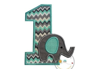 LIQUIDATION SALE Baby elephant first birthday iron on applique number, Elephant themed 1st birthday party iron on patch, Peanut elephant the