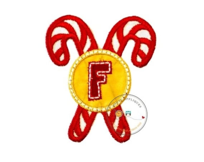 LIQUIDATION SALE Christmas candy cane initial letter F- iron embroidered fabric applique patch embellishment- ready to ship