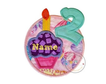 ON SALE Number two birthday cupcake iron-on applique with appliqued, teal number 2 and butterfly background, purple cupcake on pink, yellow