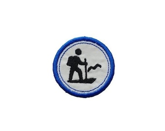 LIQUIDATION SALE Hiking Merit badge- 2 inch iron on patch- ***Ships in 72 Hours***