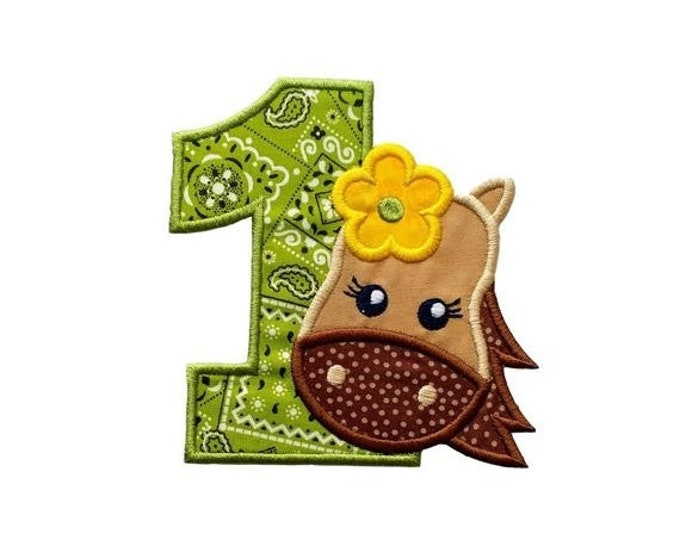 """LIQUIDATION SALE Girl Horse numbers 1-2 iron on patch- 4.75"""" Green Bandanna Number- Personalizeable ***Ships in 72 Hrs***"""