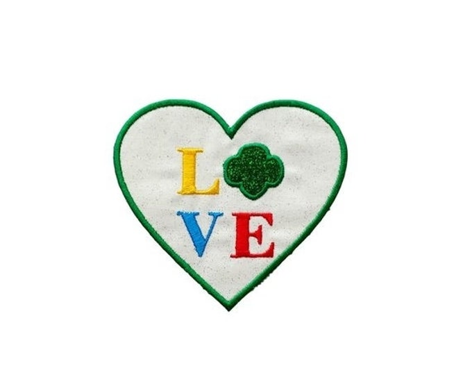 LIQUIDATION SALE Iron on fabric applique- 4 inch Love scouts patch- *** Ships in 72 hours***