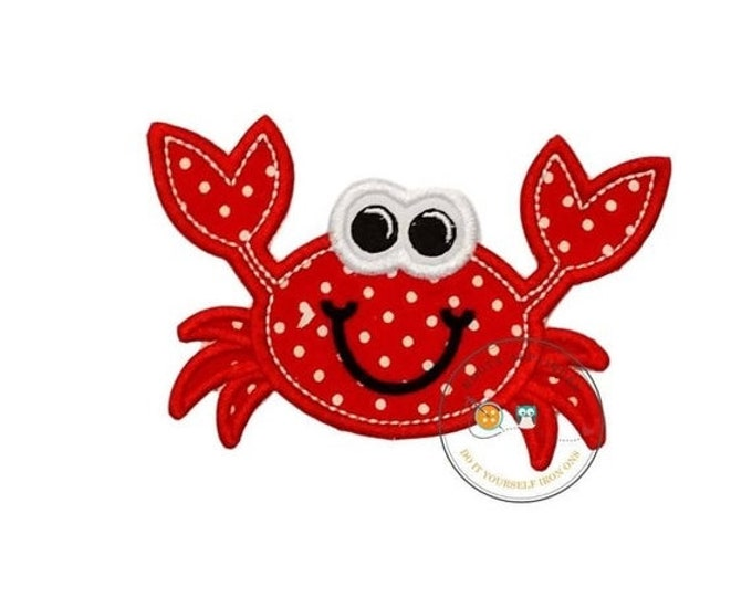 LIQUIDATION SALE Happy Crab iron on patch,  little beach crab machine embroidered heat press patch for clothing, quick shipping appliques