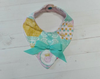 Spring time Bandana baby bib with aqua, pink, green and purple for girls, Cotton and Mink baby bibs