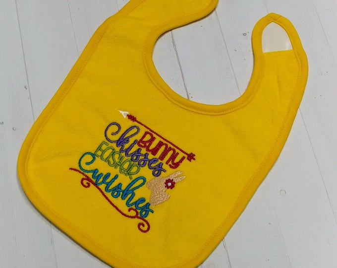 Bunny kisses, Easter wishes yellow embroidered Koala Baby cloth baby bibs for 6-12 month old boys and girls