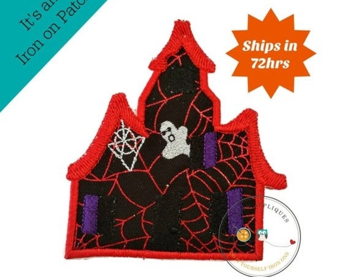 LIQUIDATION SALE Large spooky house with red webs  - iron embroidered fabric applique patch embellishment- ready to ship