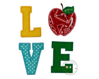 LOVE with bandanna apple machine embroidered  applique