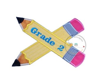 ON SALE Large 2nd grade pencils- back to school - Iron embroidered fabric applique patch embellishment-ready to ship