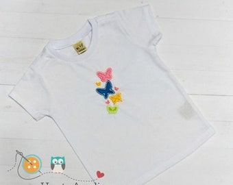 LIQUIDATION SALE Bright multi-color butterfly embroidered t shirt for girls- Spring and summer top for toddlers-