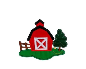 Farm with red barn, fence and tree fabric iron on applique