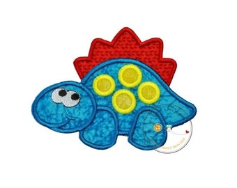 LIQUIDATION SALE Happy, blue-crackled stegosaurus with bright yellow spots and red razor back. Dino rimmed in matching blue, red, and bright