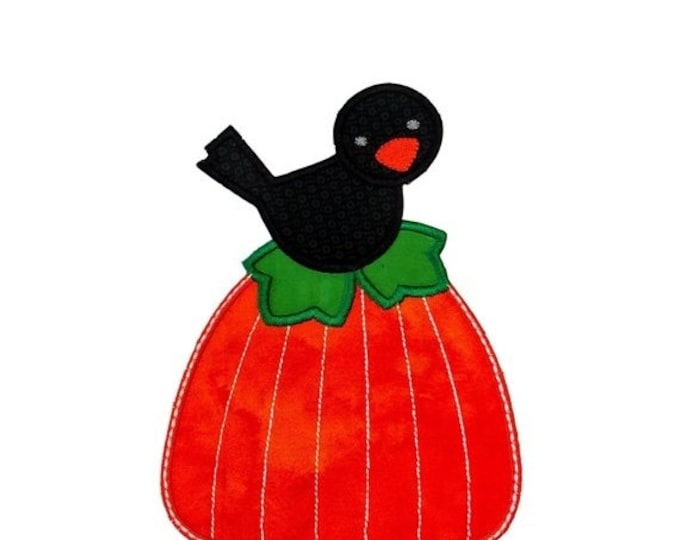 LIQUIDATION SALE Small Black Bird on bright orange pumpkin iron on applique- Fall pumpkin and crow fabric patch- ready to ship