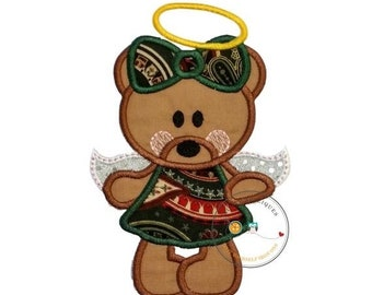 LIQUIDATION SALE Christmas angel bear - iron on embroidered fabric applique patch- Holiday angle iron on applique, Sweet bear iron on patch