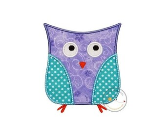 LIQUIDATION SALE Lavender and aque owl iron on patch, soft purple and blue owl machine embroidered heat press patch for clothing, quick ship