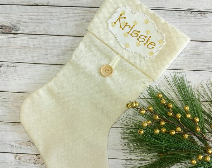 "Personalized Christmas Stocking Iron on Name Tag- 4"" White and Gold Holiday monogram applique"