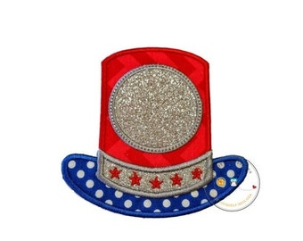 LIQUIDATION SALE Glitter Uncle Sams top hat iron on applique, July 4th embroidered fabric applique, monogram red, white and blue top hat