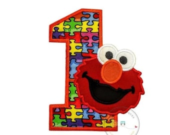 LIQUIDATION SALE Puzzle piece birthday number one with red monster- iron on embroidered fabric applique patch