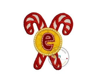ON SALE Christmas candie cane initial letter E- iron embroidered fabric applique patch embellishment- ready to ship