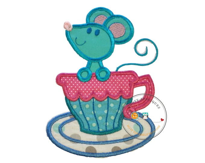 Large mouse tea party- iron embroidered fabric applique patch embellishment- ready to ship