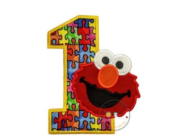 On Sale NOW Puzzle piece birthday number one with red monster- iron on embroidered fabric applique patch