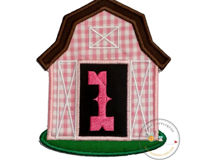 Pink barn birthday number oneiron on applique, Farm yard birthday number 1 embroidered patch, country 7th birthday iron on, ready to ship