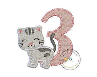 LIQUIDATION SALE Kitty number three birthday iron-on applique in white and pink dots and white glittered fabric kitten, gray embroidered str