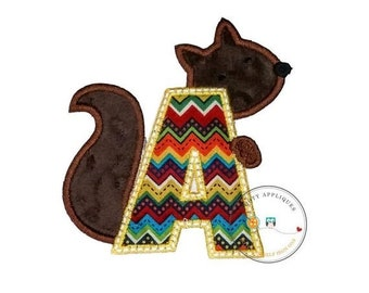 ON SALE Woodland squirrel alphabet letter, Embroidered fabric letter A-Z iron on patch, earth tone monogram A with plush mink brown squirrel