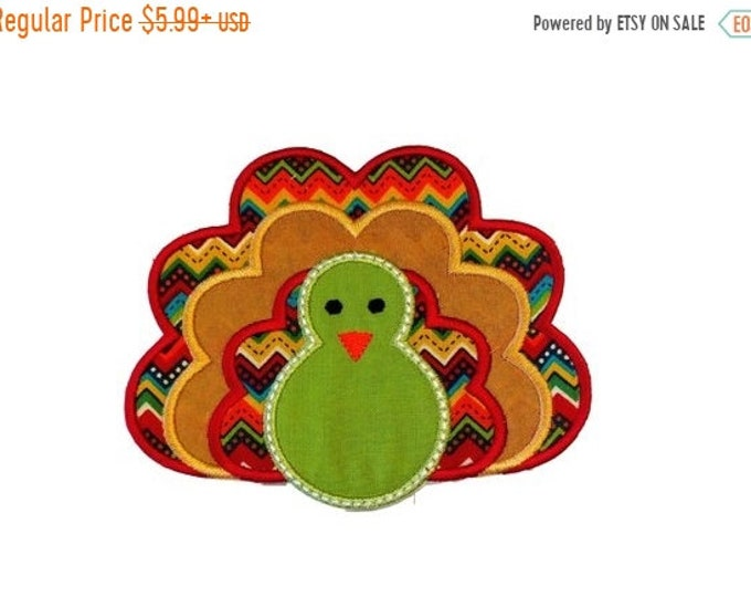 LIQUIDATION SALE Fall turkey fabric iron on applique- Thanksgiving turkey no sew embroidered patch- ready to ship