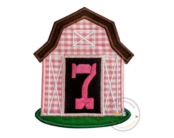 Pink barn birthday number seven iron on applique, Farm yard birthday number 7 embroidered patch, country 7th birthday iron on, ready to ship