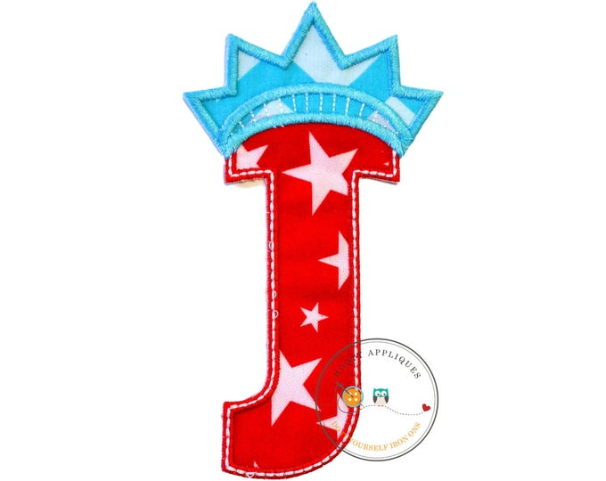 Star spangle inital letter J iron on applique, Patriotic monogram embroidered patch, Liberty letter J July 4th holiday monogram, 4th of july