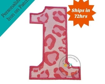 LIQUIDATION SALE Large pink cheetah print number 1- iron embroidered fabric applique patch embellishment- ready to ship