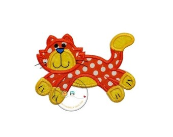 LIQUIDATION SALE Orange and white polka-dot  kitty. Iron embroidered fabric applique patch embellishment-ready to ship
