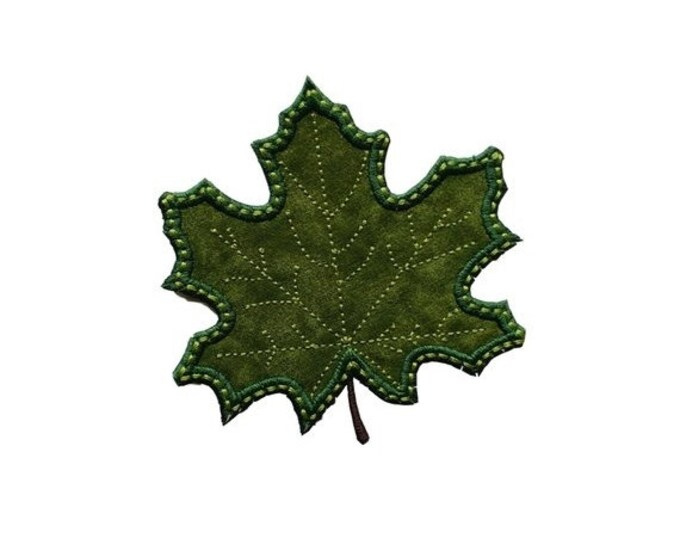 """LIQUIDATION SALE Iron on applique- small green leaf- 3.75""""  Personalize with a name *** Ships in 72 hours***"""